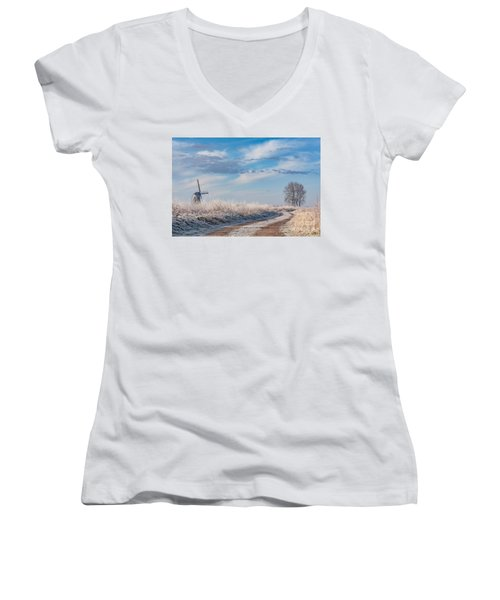 Dutch Windmill In Winter Women's V-Neck T-Shirt