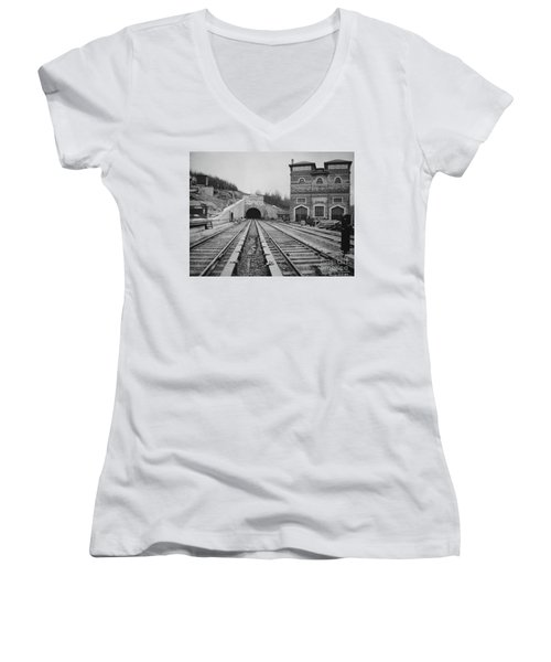 Women's V-Neck T-Shirt featuring the photograph Dyckman Street Station by Cole Thompson
