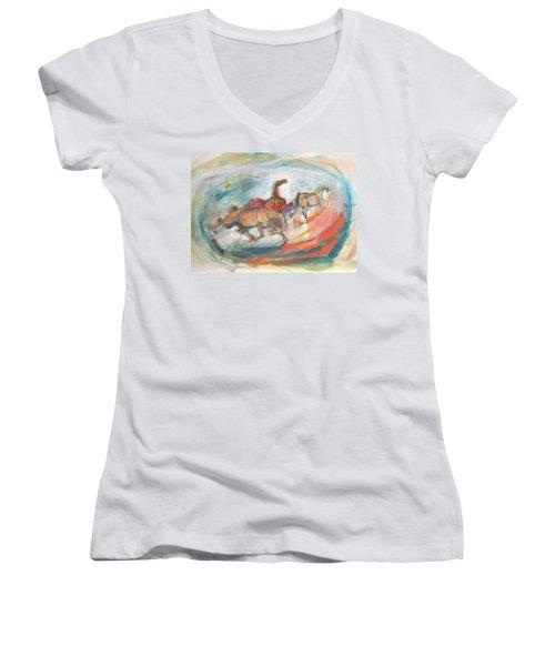 Dynamic Run Women's V-Neck T-Shirt (Junior Cut) by Mary Armstrong