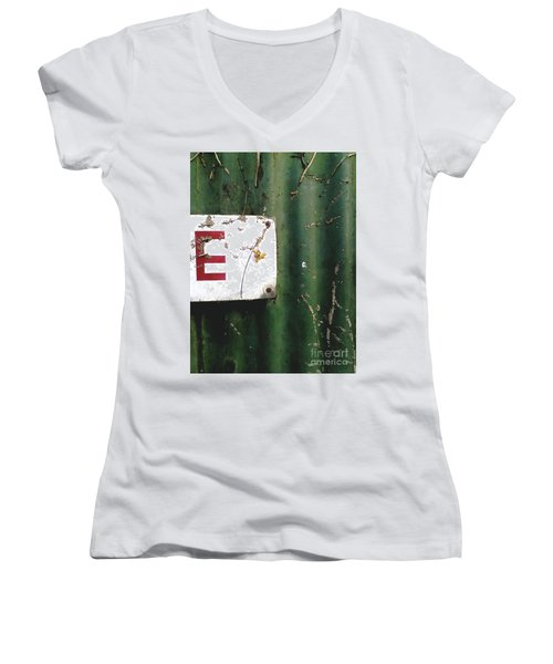 Women's V-Neck T-Shirt (Junior Cut) featuring the photograph E by Rebecca Harman