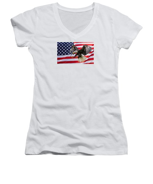 Eagle And Flag Women's V-Neck T-Shirt (Junior Cut) by Scott Carruthers