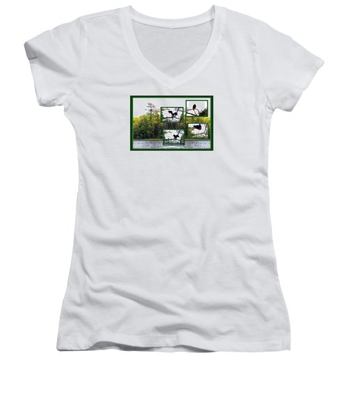 Women's V-Neck T-Shirt (Junior Cut) featuring the photograph Eagle Collage by Teresa Schomig