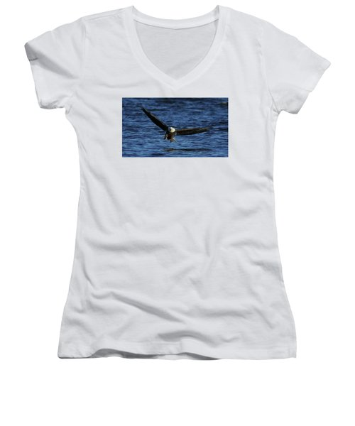 Women's V-Neck T-Shirt (Junior Cut) featuring the photograph Eagle With Talons Up by Coby Cooper