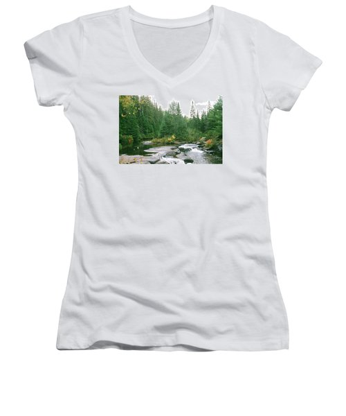 Early Autumn On The Madawaska River Women's V-Neck T-Shirt