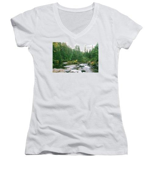 Early Autumn On The Madawaska River Women's V-Neck T-Shirt
