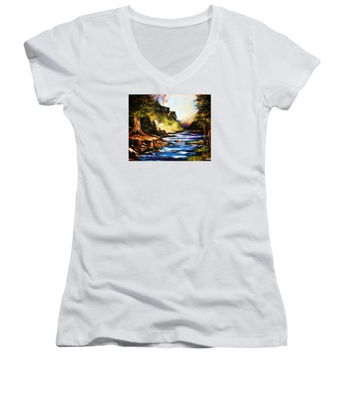 Women's V-Neck T-Shirt (Junior Cut) featuring the painting Early Dawn Campfire by Al Brown