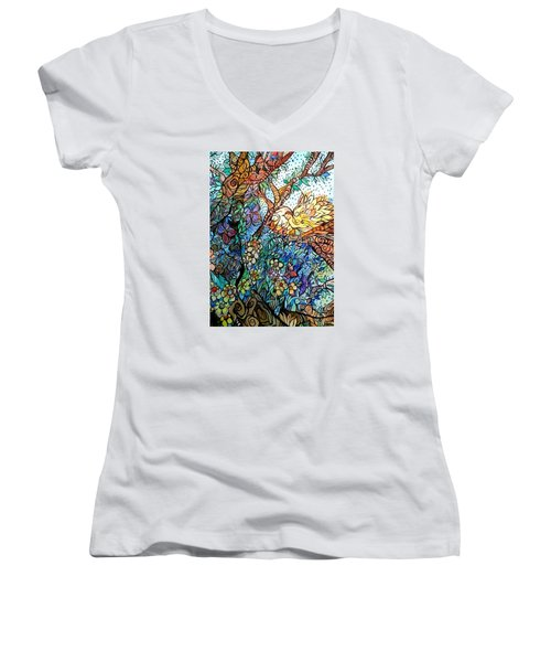 Early Fall Women's V-Neck T-Shirt (Junior Cut) by Claudia Cole Meek