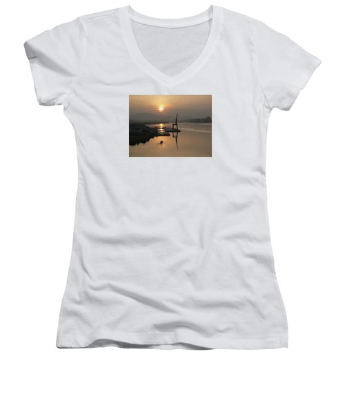 Women's V-Neck T-Shirt (Junior Cut) featuring the photograph Early Hour On The River by Lucinda Walter