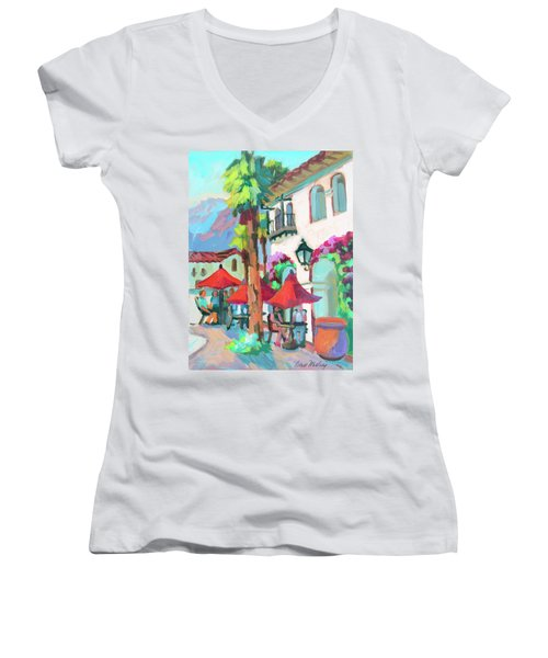 Women's V-Neck T-Shirt (Junior Cut) featuring the painting Early Morning Coffee In Old Town La Quinta 2 by Diane McClary