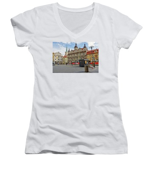 Early Morning In Prague Women's V-Neck (Athletic Fit)