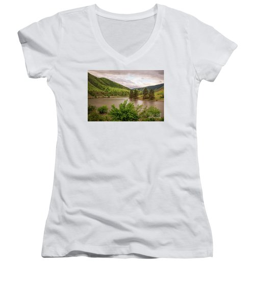 Early Morning Smoothy Waterscape Art By Kaylyn Franks  Women's V-Neck (Athletic Fit)
