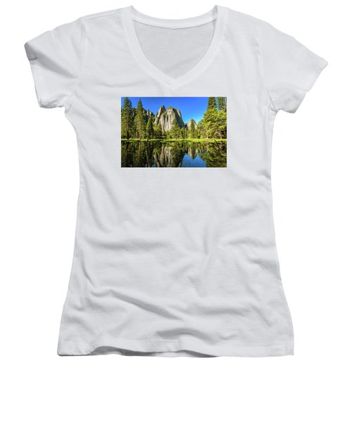 Early Morning View At Cathedral Rocks Vista Women's V-Neck