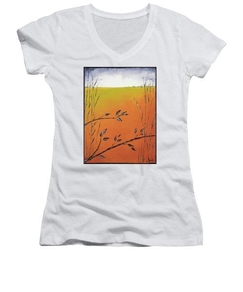 Early Spring  Women's V-Neck T-Shirt (Junior Cut) by Carolyn Doe