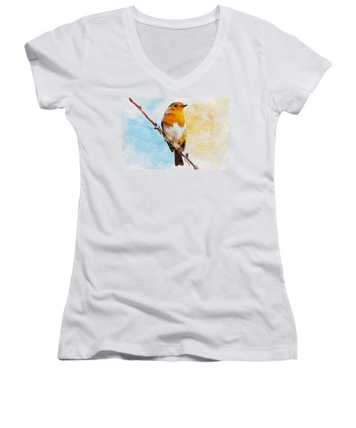 Women's V-Neck T-Shirt (Junior Cut) featuring the painting Early Spring by Greg Collins