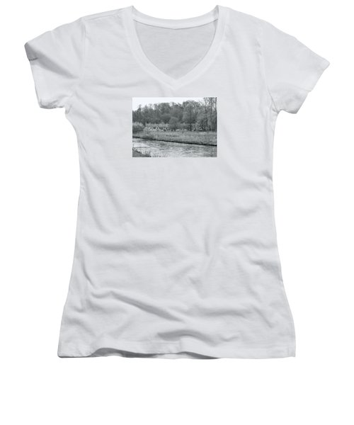 Early Spring In England Black And White Women's V-Neck T-Shirt