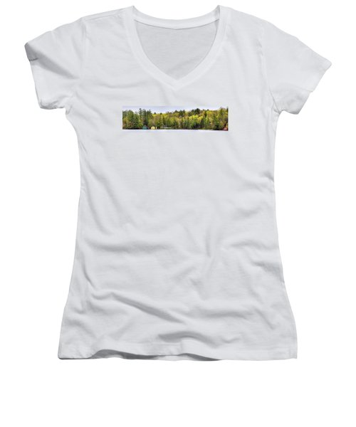 Early Spring Panorama Women's V-Neck T-Shirt (Junior Cut) by David Patterson