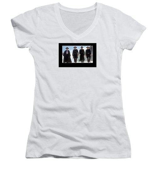 Earp Brothers And Doc Holliday Approaching O.k. Corral Tombstone Movie Mescal Az 1993-2015 Women's V-Neck