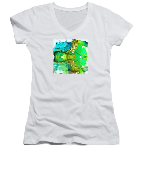 Earth Water Sky Abstract Women's V-Neck (Athletic Fit)