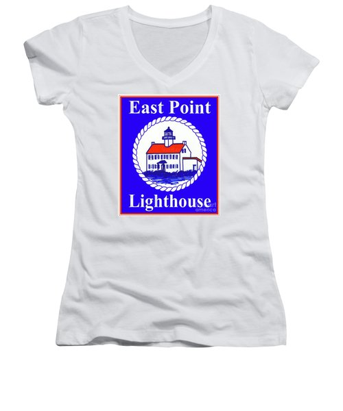 East Point Lighthouse Road Sign Women's V-Neck T-Shirt (Junior Cut) by Nancy Patterson
