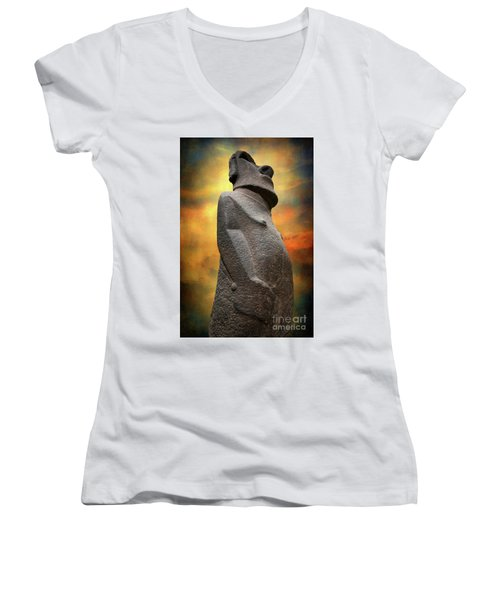 Women's V-Neck T-Shirt (Junior Cut) featuring the photograph Easter Island Moai by Adrian Evans