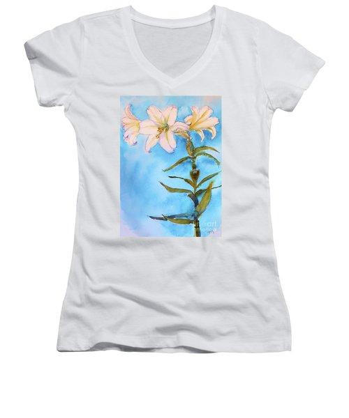 Easter Lily Women's V-Neck T-Shirt