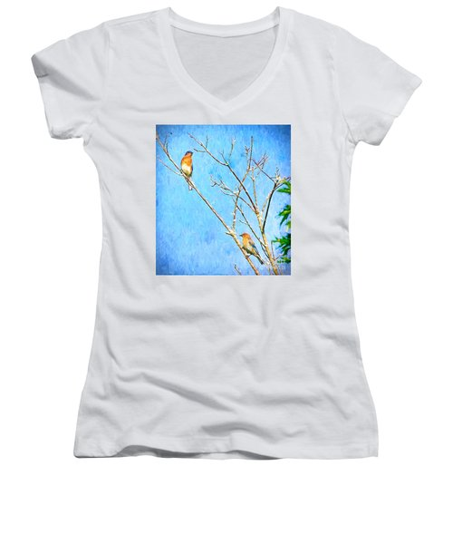 Eastern Bluebird Couple Women's V-Neck (Athletic Fit)