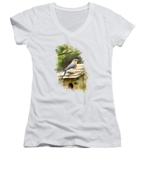 Eastern Bluebird Watercolor Art Women's V-Neck T-Shirt
