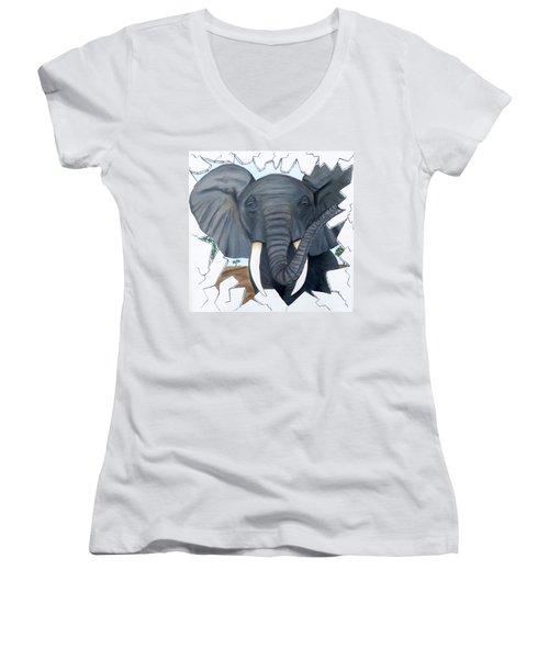 Eavesdropping Elephant Women's V-Neck