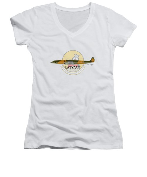 Ec-121r Batcat 553 Women's V-Neck T-Shirt (Junior Cut) by Arthur Eggers