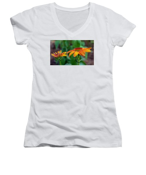 Echinacea Side View Women's V-Neck (Athletic Fit)