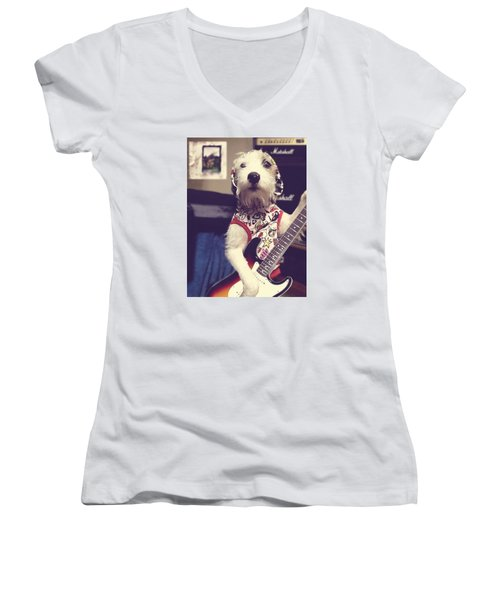 Eddie Plays Guitar Women's V-Neck T-Shirt (Junior Cut) by Richard Reeve