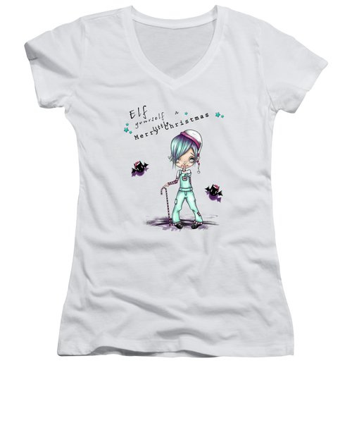 Eddie The Elf Women's V-Neck T-Shirt (Junior Cut) by Lizzy Love