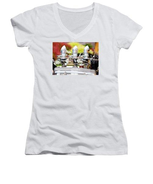 Women's V-Neck T-Shirt (Junior Cut) featuring the photograph Edelbrock Side View by Chris Dutton