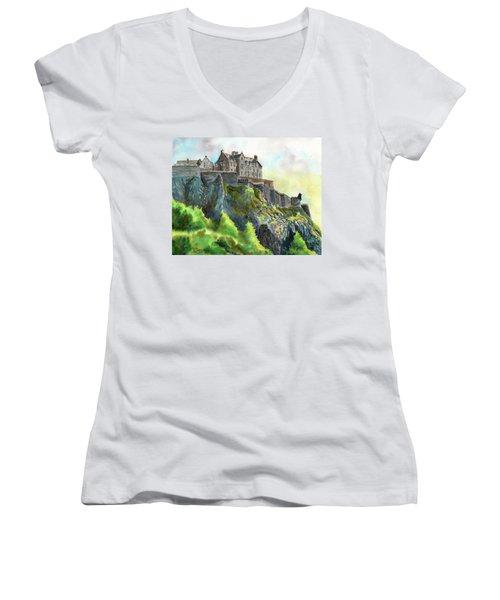 Edinburgh Castle From Princes Street Women's V-Neck (Athletic Fit)