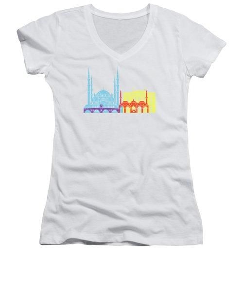 Edirne Skyline Pop Women's V-Neck (Athletic Fit)