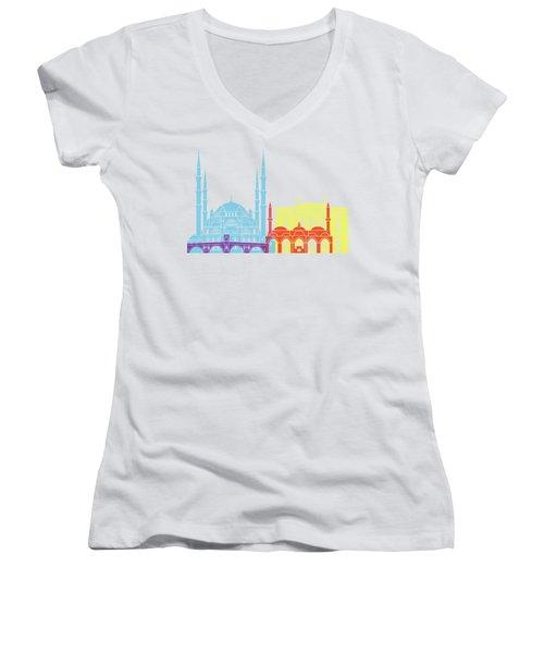 Edirne Skyline Pop Women's V-Neck T-Shirt