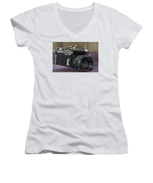 Women's V-Neck T-Shirt featuring the photograph Edixa Prismat L T L by John Schneider