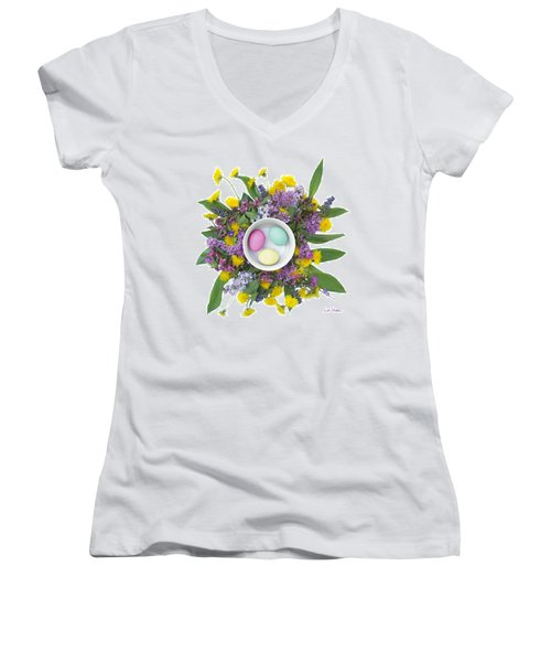Women's V-Neck T-Shirt (Junior Cut) featuring the digital art Eggs In A Bowl by Lise Winne