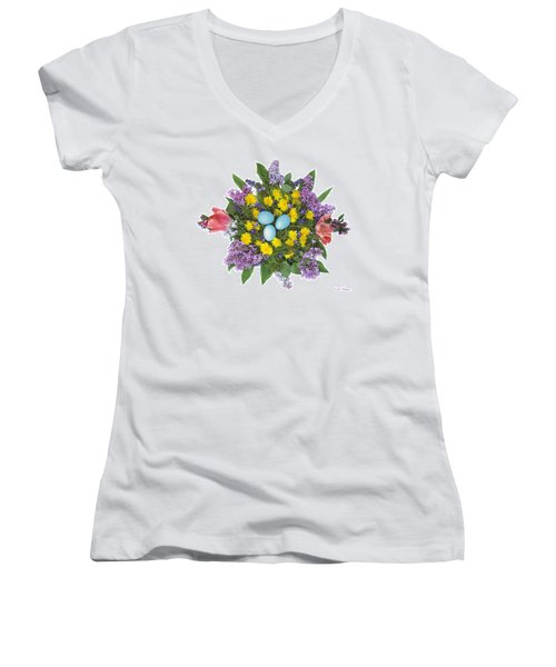 Eggs In Dandelions, Lilacs, Violets And Tulips Women's V-Neck T-Shirt (Junior Cut) by Lise Winne