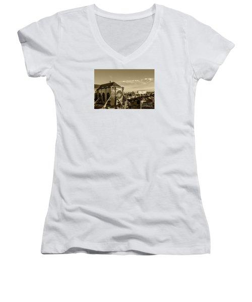Women's V-Neck T-Shirt (Junior Cut) featuring the photograph Eglise De Saint Catherine by Pravine Chester