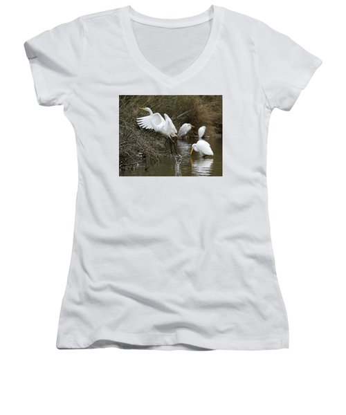 Women's V-Neck T-Shirt (Junior Cut) featuring the photograph Egret Exit by George Randy Bass