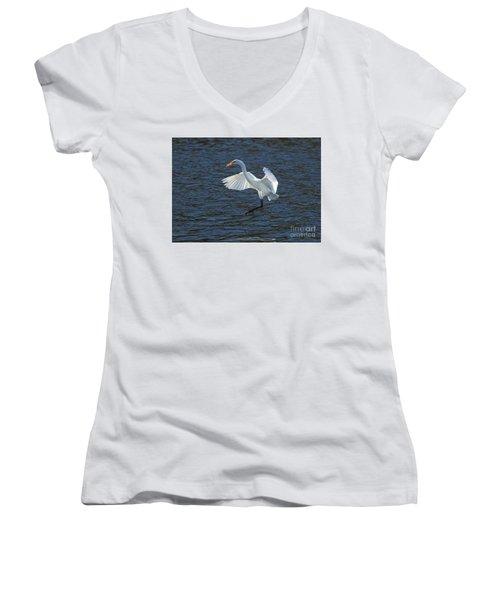 Egret Fishing Women's V-Neck (Athletic Fit)