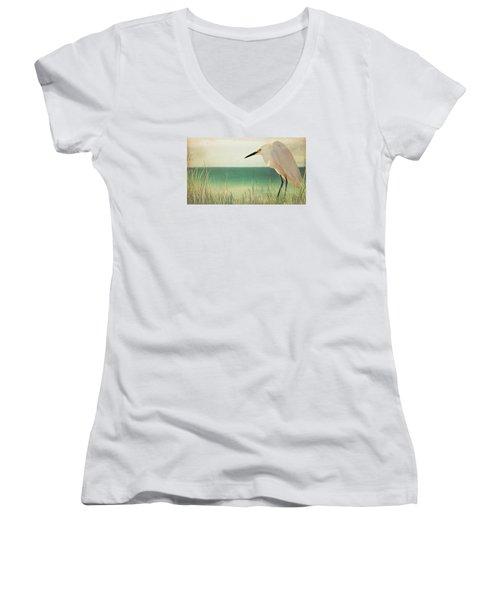 Egret In Morning Light Women's V-Neck T-Shirt (Junior Cut) by Christina Lihani