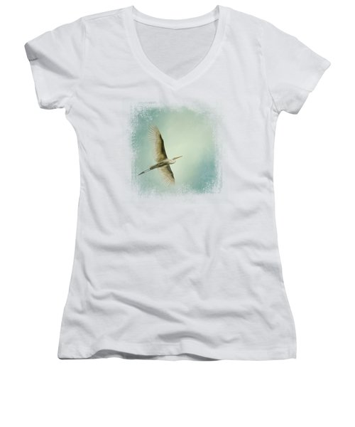 Egret Overhead Women's V-Neck T-Shirt (Junior Cut) by Jai Johnson