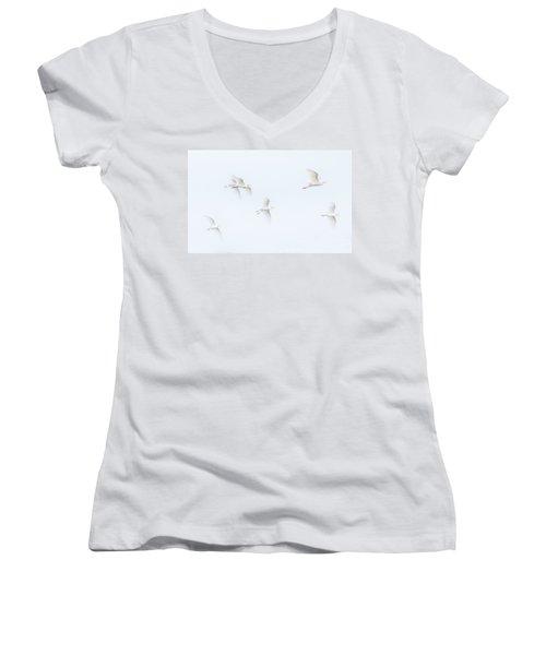Egrets White On White Color Women's V-Neck