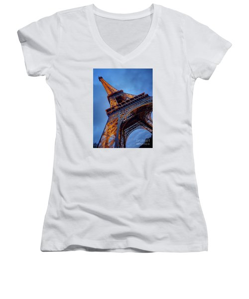 Eiffel Dressed In Gold Women's V-Neck (Athletic Fit)