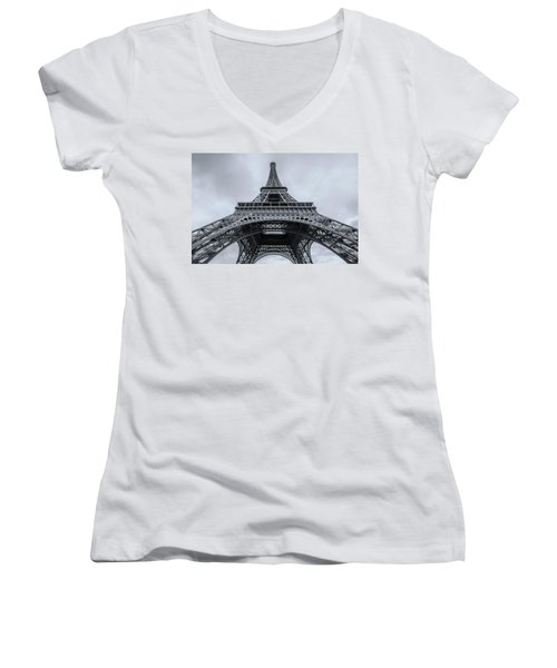 Eiffel Tower 3 Women's V-Neck (Athletic Fit)