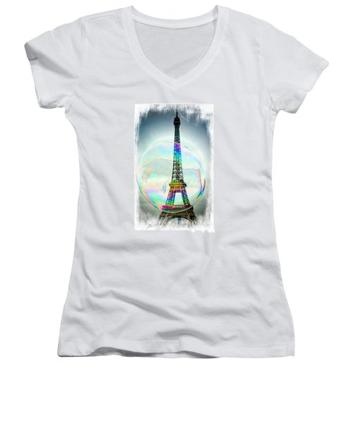 Eiffel Tower Bubble Women's V-Neck T-Shirt (Junior Cut) by Lilliana Mendez