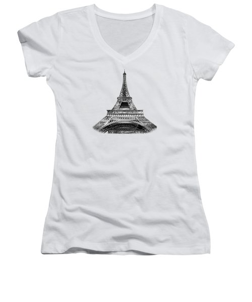 Eiffel Tower Design Women's V-Neck