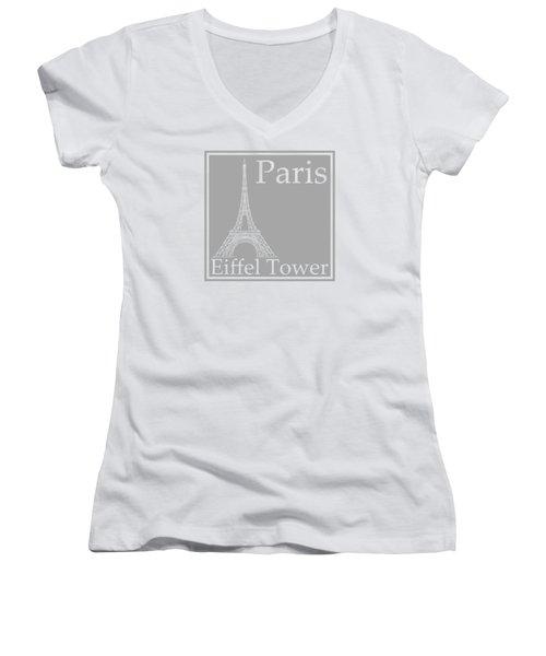 Eiffel Tower In Gray Women's V-Neck T-Shirt (Junior Cut) by Custom Home Fashions